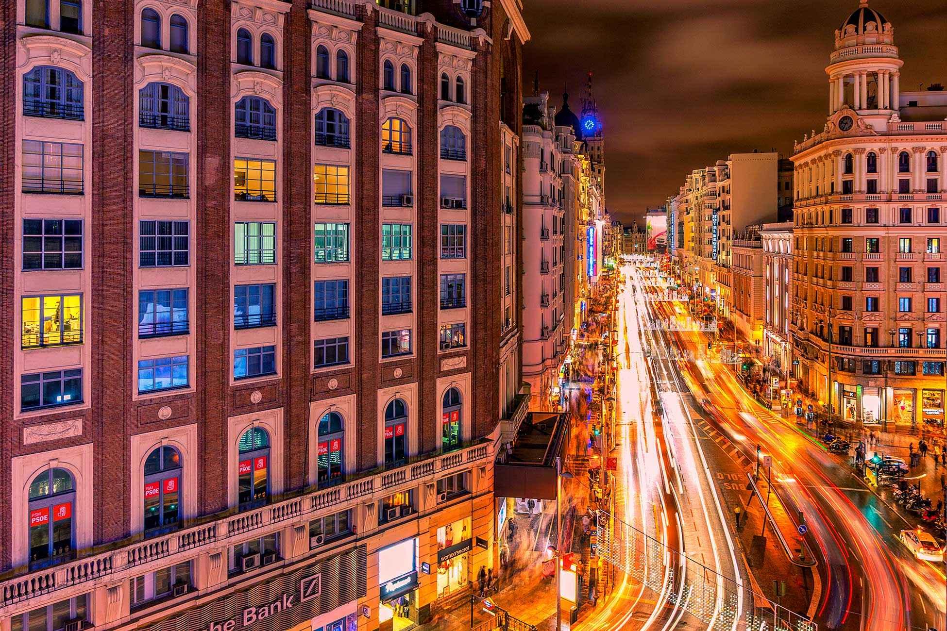 Nachtfotografie in Madrid