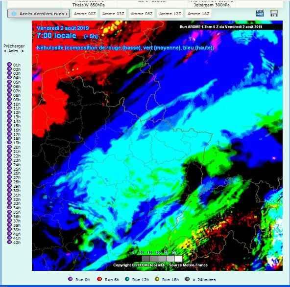 carte nebulosite prevision meteo comparatif