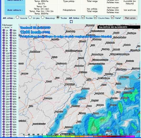 carte prevision pr�cipitations comparatif pluie prevue site meteociel