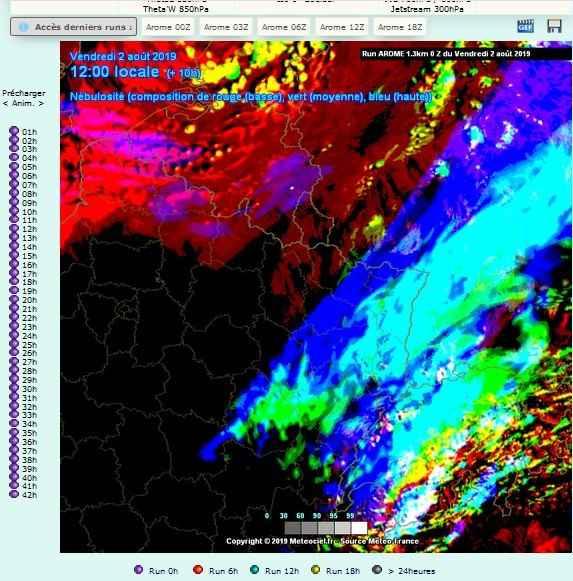carte nebulosite prevision meteo comparatif nuages