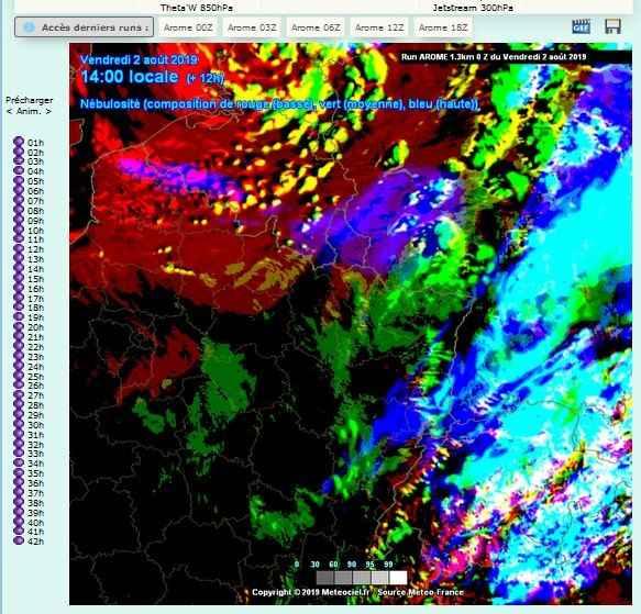 carte nebulosite prevision comparatif temps