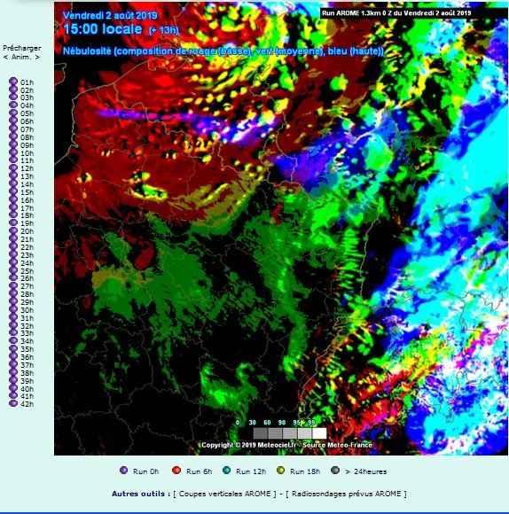 carte nebulosite prevision comparatif nuages hauts bas moyens