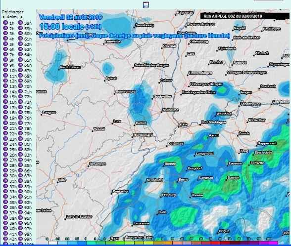 comparatif carte prevision pr�cipitations pluies prevues
